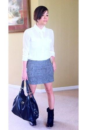 black tweed Charlotte Russe skirt - black leather ecote boots