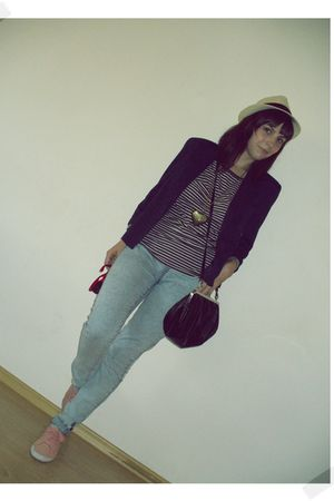 pull&bear blouse - c&a blazer - pieces leggings - Clockhouse C&A purse - H&M sho