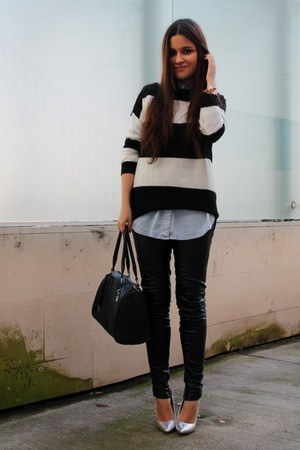 black suiteblanco sweater - silver asos heels