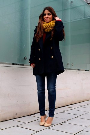 navy H&M coat - blue H&M jeans