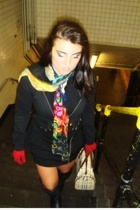 twisted heart blazer - vintage skirt - Nyla boots - Ed Hardy scarf - Gap gloves