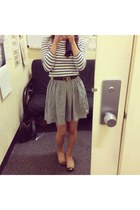 blue stripe StyleMint shirt - silver silk Fei skirt - black ferragamo belt