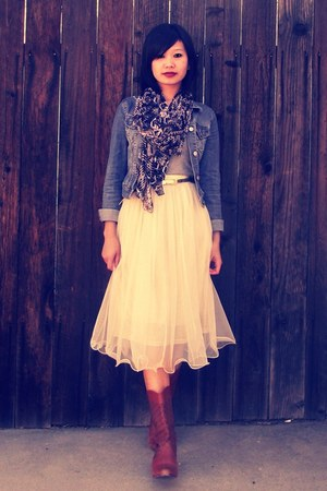 mesh tulle Ebony Eyes skirt - TUK boots - denim H&amp;M jacket