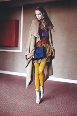 maxi coat - silk purple shirt - yellow tights - leather bag Chanel bag - leather
