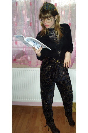 spangled vintage pants - leather handmade heels - lace self-made blouse