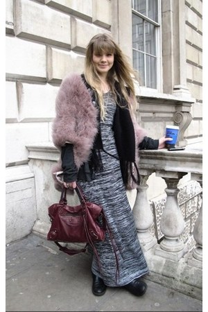H&M boots - H&M dress - Topshop coat - balenciaga bag - fringed H&M cardigan