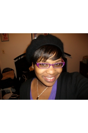 purple glasses - black Walmart cardigan - purple Forever 21 t-shirt