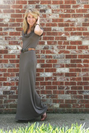 olive green TJ Maxx dress - brown Bandolino heels