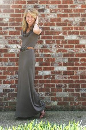 olive green TJ Maxx dress - brown Bandolino heels