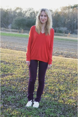 red Gap sweater - purple TJ Maxx pants - cream Converse sneakers