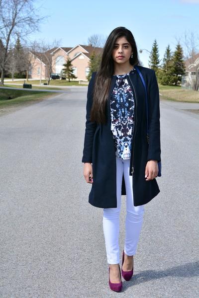 navy long H&M coat - blue crossbody Call it Spring bag