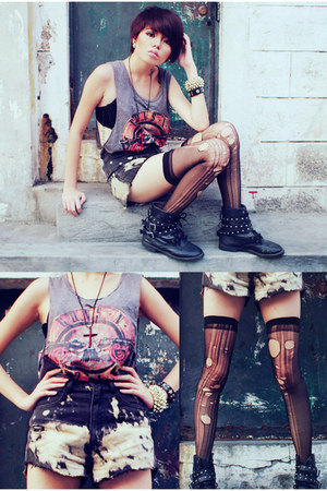gold bracelet - black boots - black shorts - black socks - brick red necklace