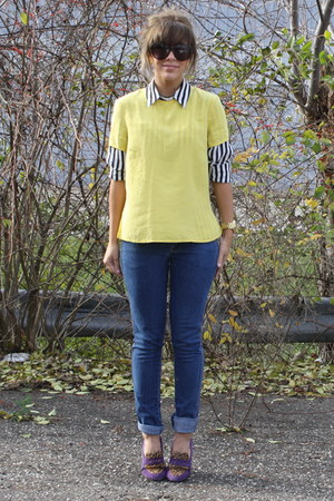 black  white vintage blouse - H&amp;M jeans - yellow vintage top - vintage necklace