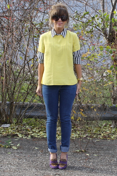 black  white vintage blouse - H&M jeans - yellow vintage top - vintage necklace