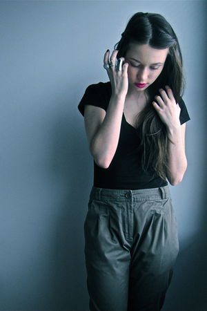 green H&M pants - black H&M t-shirt - silver H&M Mimi and Stockmann accessories