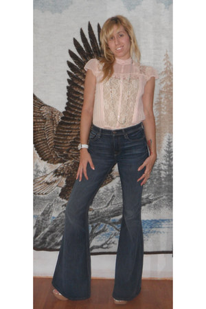 navy bell bottoms 7 for all mankind jeans - peach lace Wet Seal shirt - eggshell