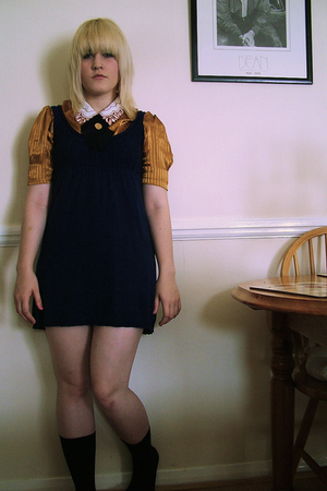 thrifted blouse - forever 21 dress - handmade tie