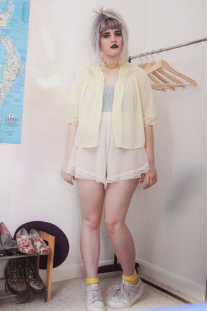 off white sheer bloomers vintage shorts - light yellow bed jacket vintage cardig