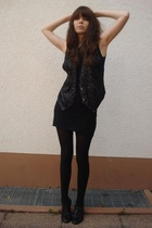 black American Apparel dress - black goertz shoes - black vintage vest