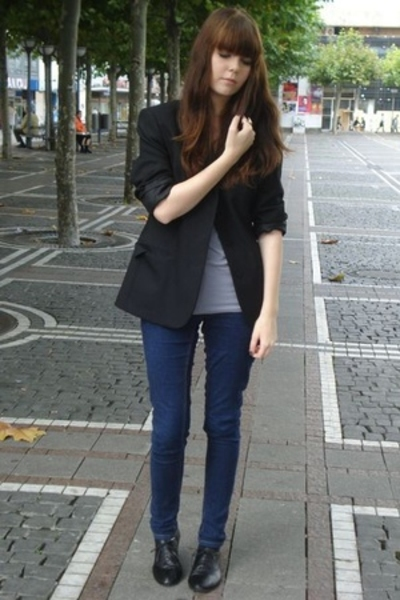 Secondhand blazer - American Apparel top - goertz shoes - Cheap Monday jeans
