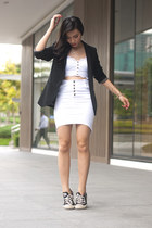 white Forever21 top - black Promod blazer