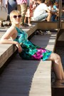 Hot-pink-colin-stuart-boots-turquoise-blue-tropical-floral-forever-21-dress