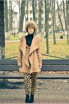 beige Ebay coat - leopard print Ebay pants