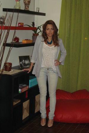 gray Topshop blazer - white H&M t-shirt - blue Bershka jeans - beige Dorothy Per