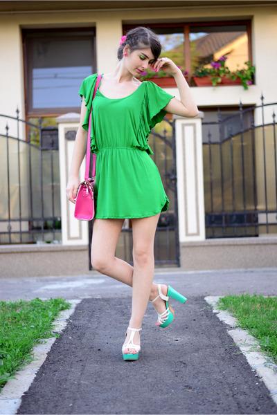 hot pink - bag - chartreuse Zara dress - aquamarine - sandals