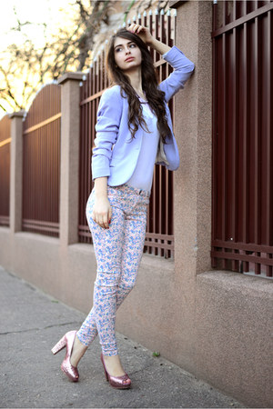 pink H&M shoes - periwinkle H&M blazer - light purple Zara pants