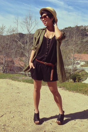black black romper Express jumper - army green H&M top