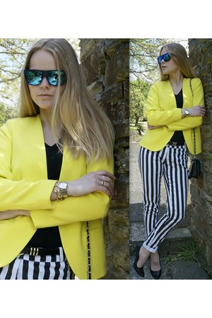 neon yellow H&M blazer - mirrored blue Zero UV sunglasses - black new look heels
