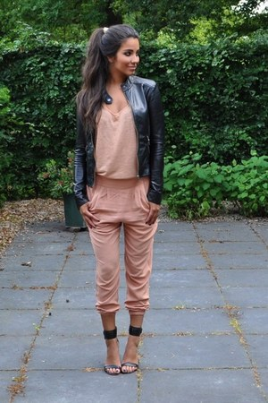 black Pimkie jacket - light pink H&M pants - light pink Monki top