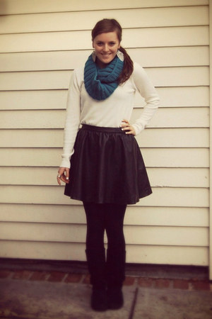 leather H&M shirt - off white Forever 21 sweater - blue Target scarf
