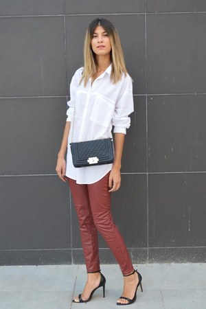 oversized asos shirt - quilted chicnova bag - faux leather Sheinsidecom pants