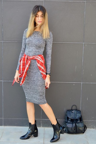 patent leather Zara boots - bodycon grey AX Paris dress - plaid Zara shirt