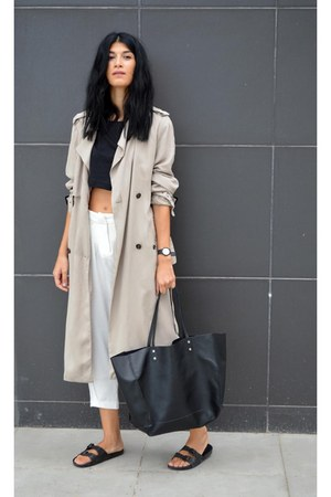 trench coat Zara coat - white choiescom pants - sliders asos flats