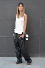 Black-and-white-choiescom-bag-leather-nowhere-pants
