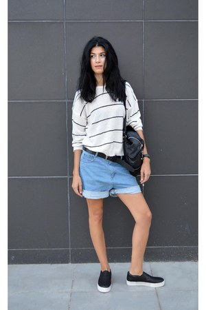 striped Sheinsidecom top - backpack anna xi bag - slip on ASH sneakers