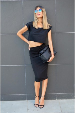 lunch Zara bag - chicnova sunglasses - midi asos skirt