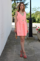 salmon Zara dress