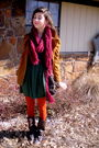 Orange-tights-brown-boots-green-dress
