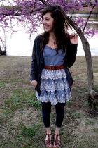 brown shoes - gray cardigan - blue Forever 21 pants - blue Forever 21 dress - br