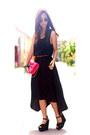 Black-hi-low-hem-maxi-cotton-on-dress-hot-pink-bow-h-m-bag