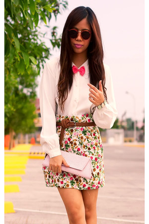 ivory ivory vintage blouse - tawny vintage sunglasses - hot pink Forever21 skirt