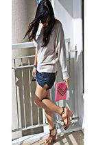 brown platform bclub shoes - pink sling My Cousins bag - denim Terranova shorts