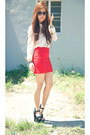 Bodycon-zara-skirt-sheer-warehouse-blouse