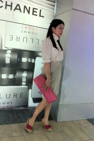 H&M purse - skirt - 100 silk Zara blouse - Aldo wedges