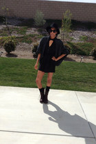 collared Nasty Gal dress - laced up DSW boots - floppy asos hat