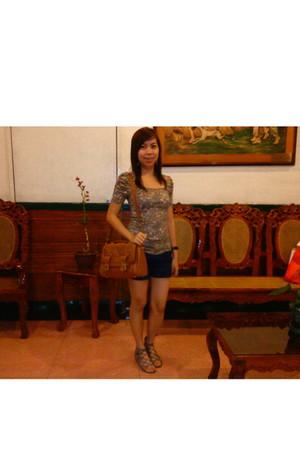 Zara blouse - shorts - shoes - Zara bag